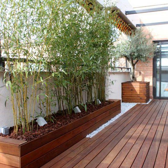Madera Natural Exterior Terraza madera IPe jardinera integrada